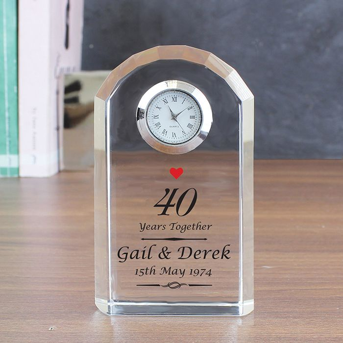 Personalised 40th Ruby Wedding Anniversary Clock Ruby Anniversary